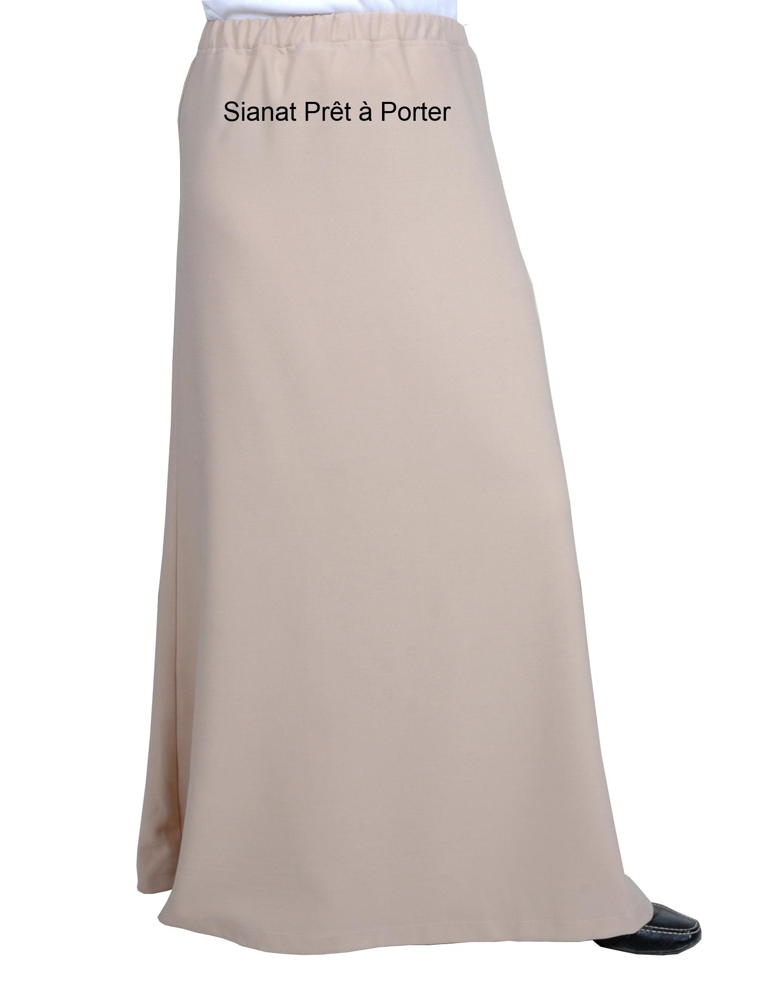 jupe longue beige